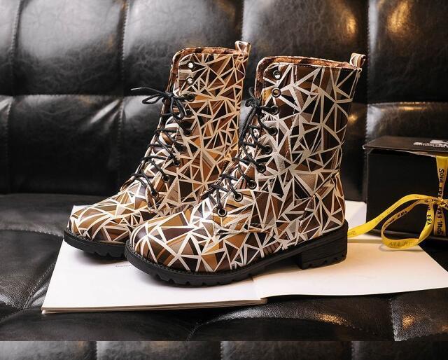 botas zapatos beige de mujer botas militares beige zapatos colorido como piel cómodo 8197 c1da41