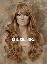 Extra LONG HUMAN HAIR Blend HEAT SAFE Strawberry Blonde Mix Wig WBNY 27-613