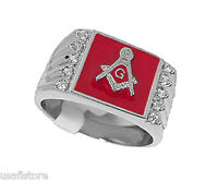Mens Red S10 Masonic Mason Rhodium Plated Ring Size 14