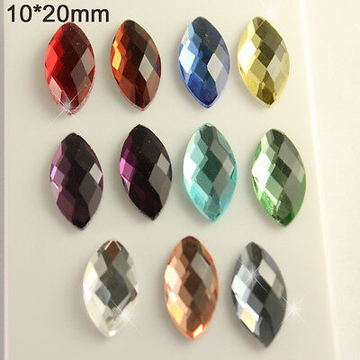 24p color glass 10x20mm Foiled Flatback CRYSTAL rhinestones Navettes jewels bead