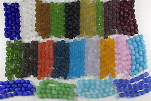 1-Strand-of-Frosted-Matte-SMALL-NUGGET-Beach-Sea-Glass-Beads-You-Pick-The-Color