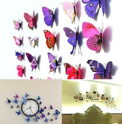 FD532 Colourful 3D Artificial Butterfly Magnet Wedding Home Decoration 5pcs/