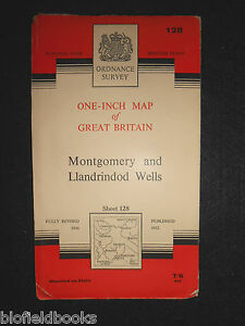 VINTAGE-ORDNANCE-SURVEY-1-034-MAP-Montgomery-Llandrindod-Wells-1961-Sheet-128