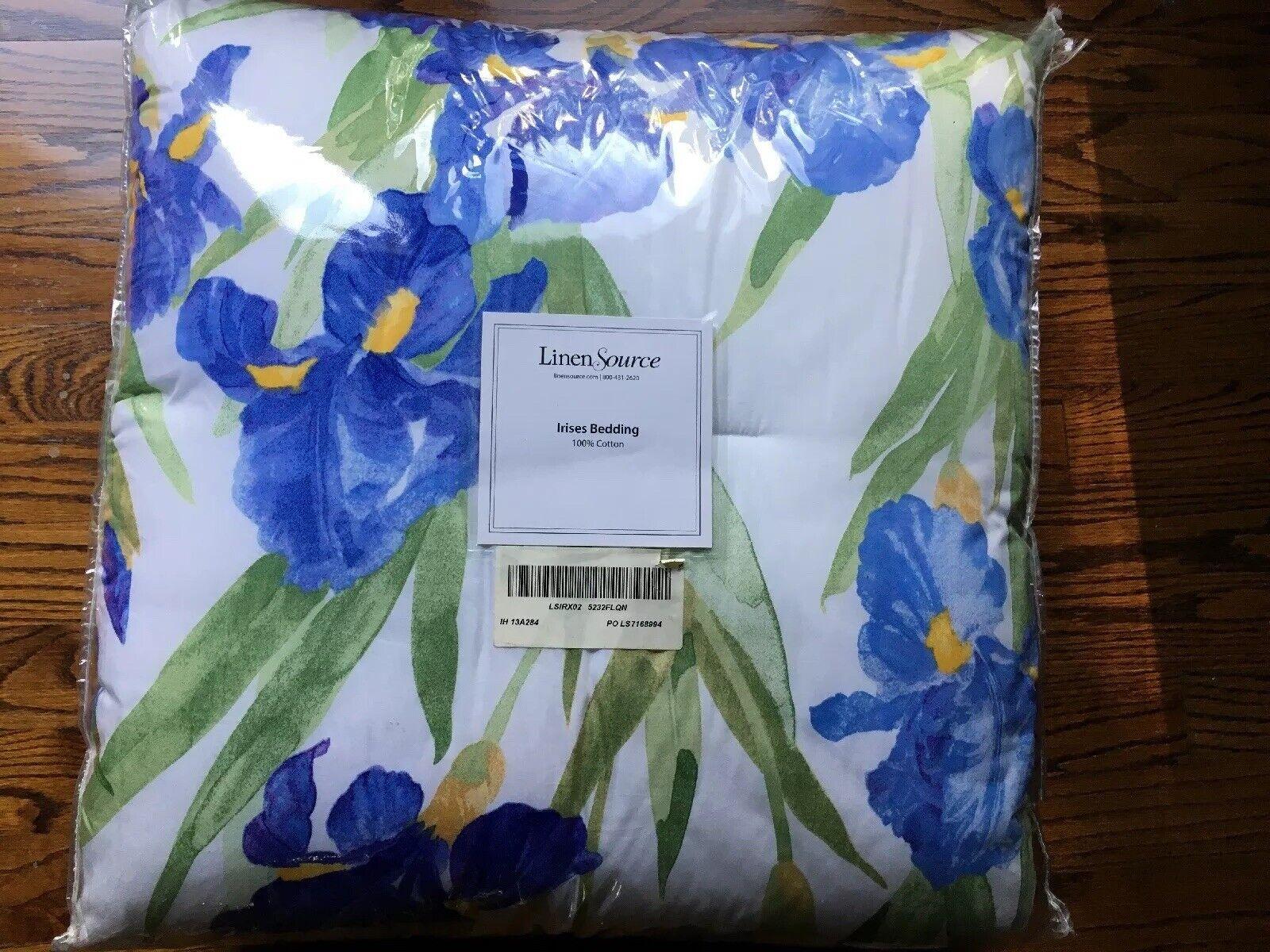 New Linen Source Irises Blau Gelb Grün Königin Full 100% Cotton Comforter 90x96