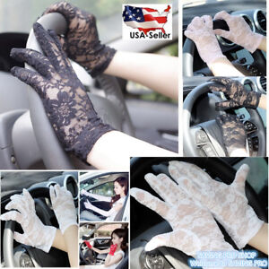 Women-039-s-Summer-UV-proof-Driving-Gloves-Wedding-Bridal-Gloves-Short-Lace-Gloves