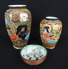 lot 2 vases et une petite coupe en porcelaine de satsuma / japon japanese
