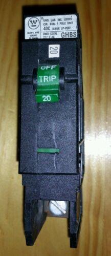 Westinghouse GHBS1020 Circuit Breaker 1 Pole 20A GHBS 277V 120V
