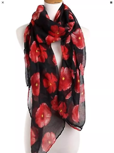 Black and red long Poppy Print Scarf Throw Wrap lovely material shawl gift