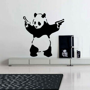 banksy wandtattoo wandaufkleber wandsticker decal sticker aufkleber deko panda ebay. Black Bedroom Furniture Sets. Home Design Ideas