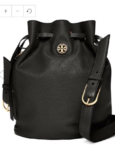 e39f9cc467 Tory Burch Authentic Brody Leather Bucket Bag Messenger Medium SIZE BLACK  NWT