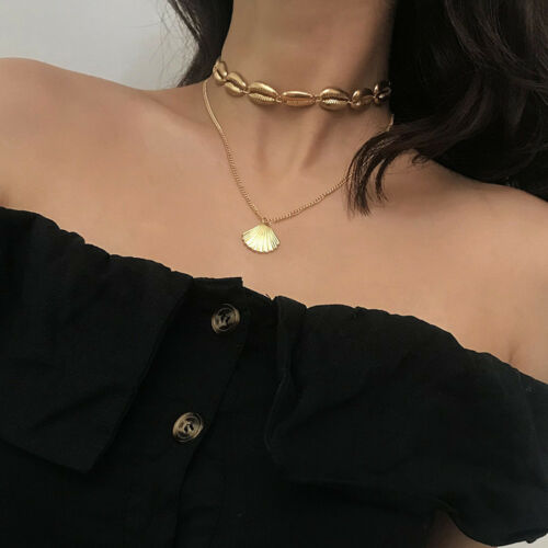 Multilayer Choker Shell Long Pendant Alloy Necklace Chain Charm Women Jewelry