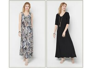 Attitudes-by-Renee-Regular-Set-of-2-Printed-amp-Solid-Maxi-Dresses-Xs-Animal-Black