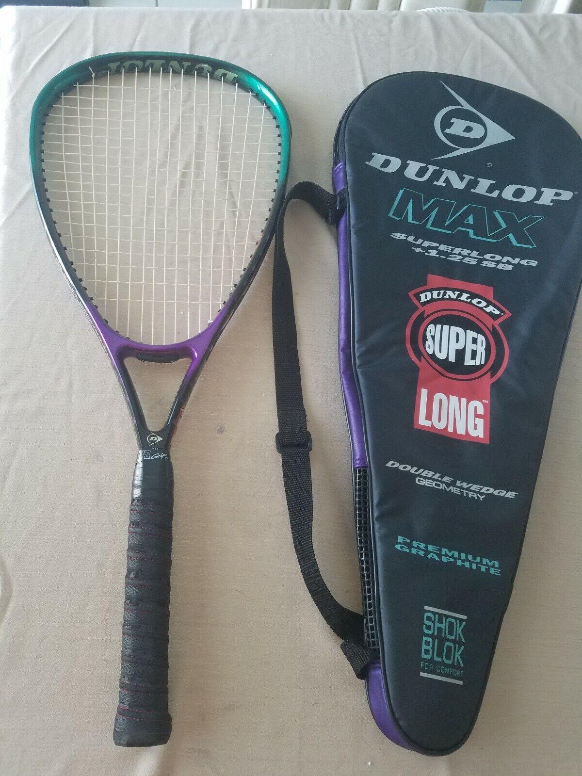 Dunlop MAX Superlong +1.25 SB 4 3 8 Tennis Racquet w Case EXCELLENT CONDITION
