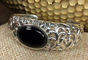 925-Sterling-Silver-Onyx-Gemstone-Carved-Out-Cuff-Bracelet-Fine-Jewelry