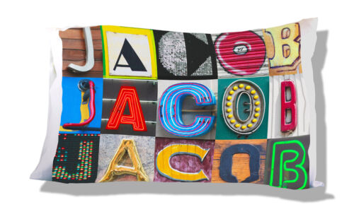 Personalized Pillowcase featuring JACOB in photos of actual sign letters
