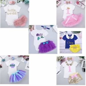 5167a88a503 Newborn Baby Girl 1st Romper CakeSmash Tutu Dress Bodysuit Headband ...
