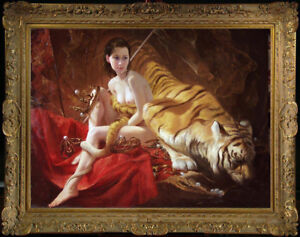 """Hand-painted Original Oil painting art nude girl and tiger on Canvas 30""""X40"""""""