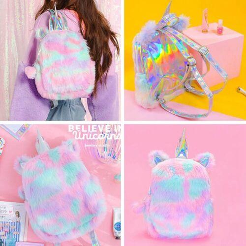 Cute Women Girls Fluffy Unicorn Backpack Plush School Rucksack Zipper Bag UK