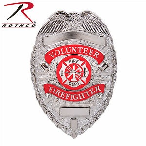 Firefighter Badge Deluxe Silver Volunteer Firefighter