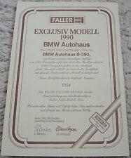 """Zertifikat ( Nr. 5504 ) für Faller Exclusiv Modell 1990 """" BMW Autohaus B-390 """""""
