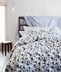 Nwt Hm Home Floral Duvet Cover Set Pillow Bedding Navy Blue White