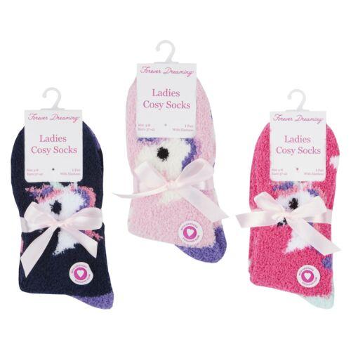 Slipper Socks ~ UK 4-8 Ladies 3 pack of Unicorn Cosy Socks Bed Socks