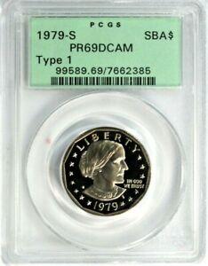 """1979-S Type-1 SBA Dollar PCGS PR 69 DCAM """"Old Green Holder"""" GA1-85"""