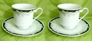 4 pcs/2 SET CROWN MING FINE CHINA JIAN SHIANG MICHELLE COFFEE TEA CUPS & SAUCERS