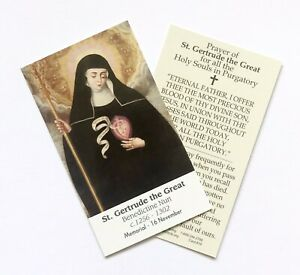 ST-SAINT-GERTRUDE-Prayer-For-Holy-Souls-in-Purgatory-Wallet-Purse-Size-Card
