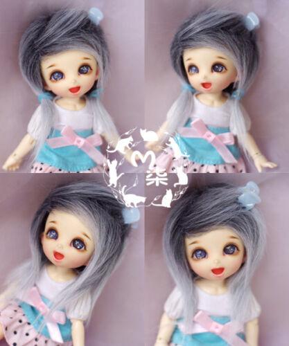 """3-4/"""" 9-10cm BJD fabric fur wig Gradual Black White for AE PukiFee lati 1//12 Doll"""