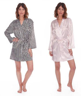 LADIES SATIN DRESSING GOWN KIMONO WRAP ROBE STRIPED NIGHT WEAR UK 8-22 BNWT