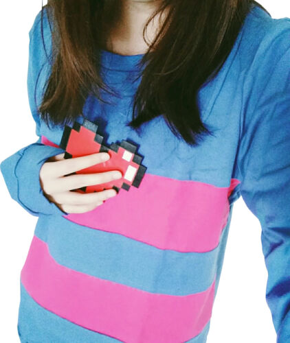 Frisk Blue Shirt And Heart Costume Undertale Game Cosplay Sweater Sweatshirt