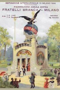 TARGA-VINTAGE-034-1906-EXPO-MILANO-PADIGLIONE-FERNET-BRANCA-034-PUBBLICITA-039-ADVERTISING