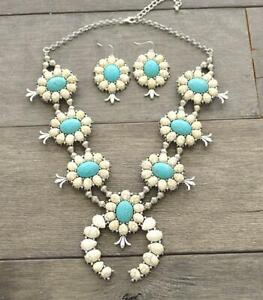 SQUASH-BLOSSOM-NEW-necklace-set-in-white-and-turquoise-20-inch-adj