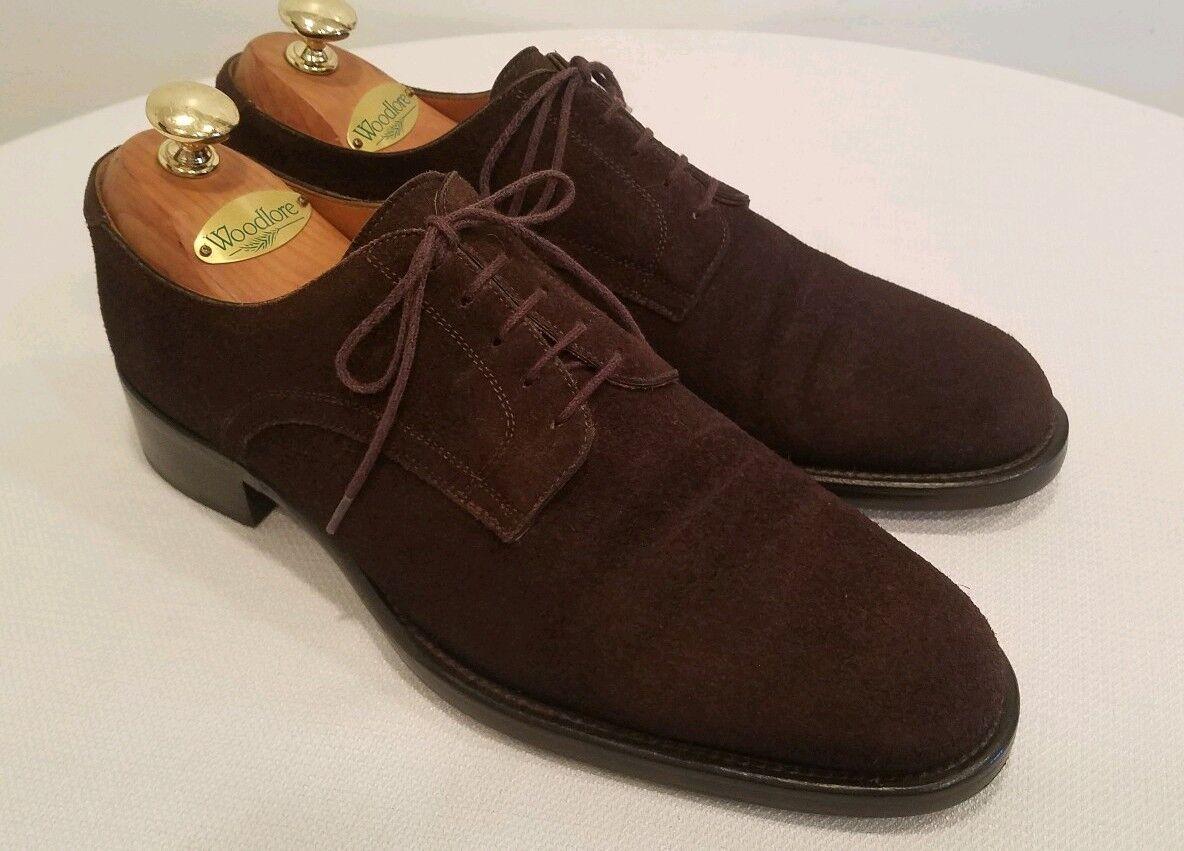 HERMES Men's Chocolate Marronee Suede Derby Dress scarpe Dimensione EU 42, US 9 D