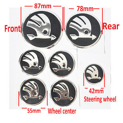 7x emblem for skoda wheel CENTRE HUB CAP badge+steering+hood+trunk boot sticker