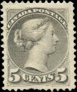 Mint-H-Canada-F-Scott-38-5c-1876-Small-Queen-Issue-Stamp