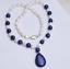"""Naturel 7-8 mm blanc Akoya Pearl//Lapis Lazuli Collier Pendentif 18/"""""""