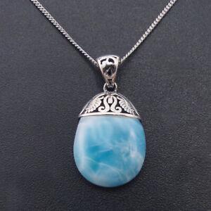 Hot-Sale-Solid-925-Sterling-Silver-Natural-Larimar-Gemstones-Necklace-Pendant