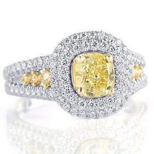 GIA-Certified-2-04-Ct-Cushion-Cut-Natural-Yellow-Diamond-Engagement-Ring-18k