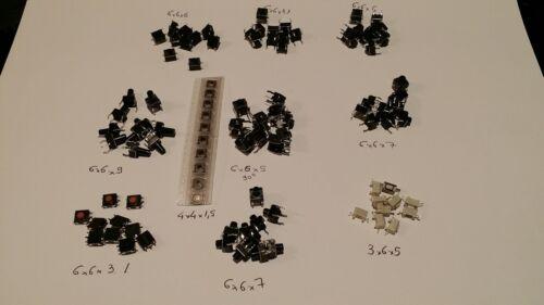 Lot de 10 sachets de 10 mini bouton poussoir CI divers neufs de 3X6X5 à 6X6X9