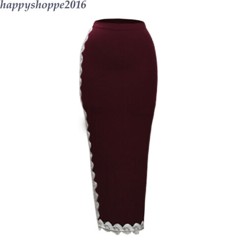 Bodycon High Waist Women Party Club Pencil Skirt Muslim Tight Lace Long Skirts