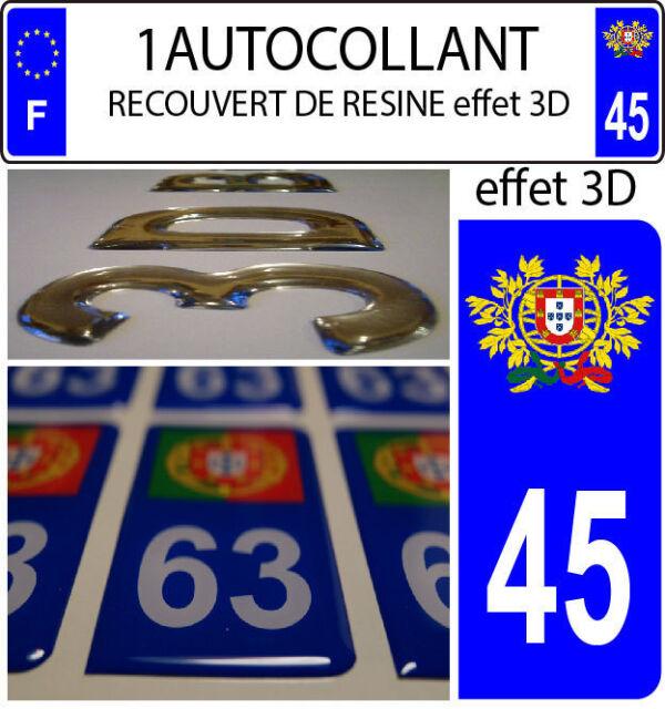 1 Adesivo Targa Auto Tuning 3D Resina Stemma Portogallo Dipartimento 45