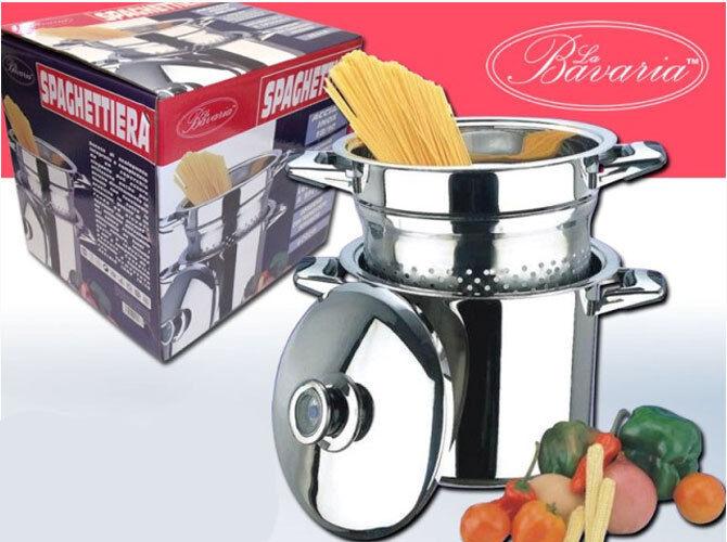 La spaghettiera bavaria pentola pastaiola 3 pezzi bollipasta cestello scolapasta