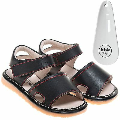 Little Blue Lamb Boys Girls Toddler Leather Squeaky Sandals - Black & Shoe Horn