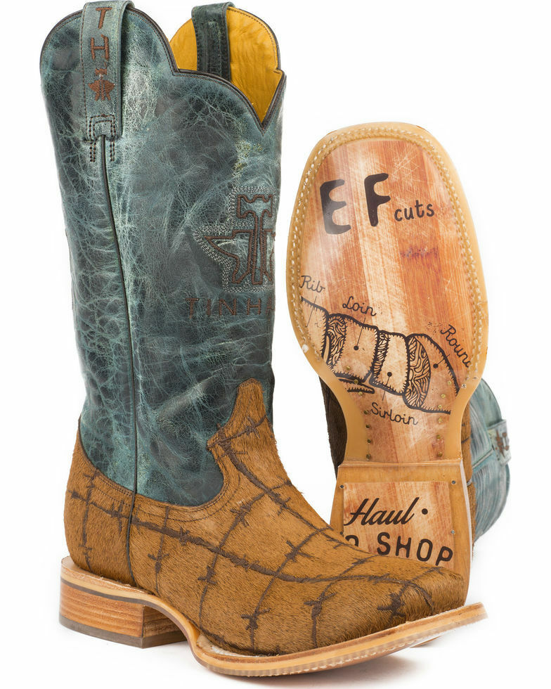 NEW Tin Haul Hairy Metal Men's Natural Hair on Hide Boot 1402000070334 Size 10 D