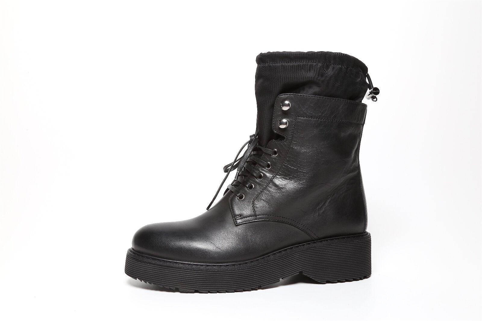 Prada Prada Prada 3T6101 Women's Black Leather Military Boots 6196 Sz 40 EUR 9f8e03