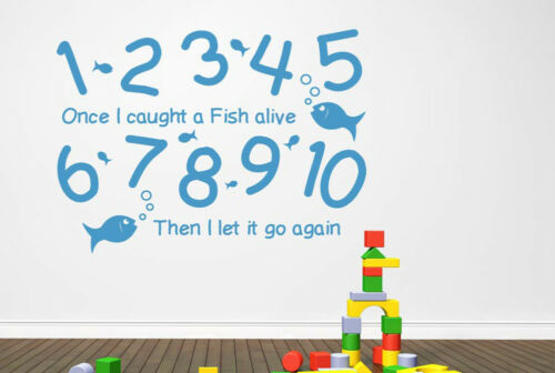 1 2 3 4 5 Once I Caught A Fish Alive Wall Stickers Vinyl Art Decals