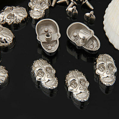 10 Set Silver Screwback Skull Rivets Spikes Studs Spots for Shoes Craft
