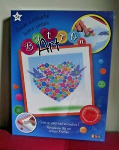 Button-Art-Heart-Childrens-Craft-Kit-Create-Colourful-Button-Picture